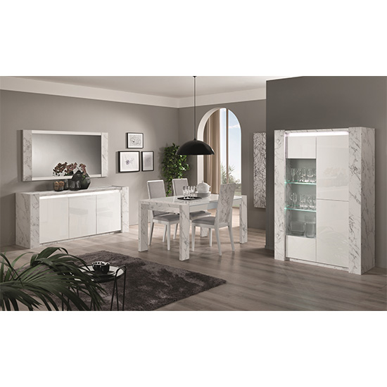Attoria LED 2 Door Wooden Display Cabinet White Marble Effect_3