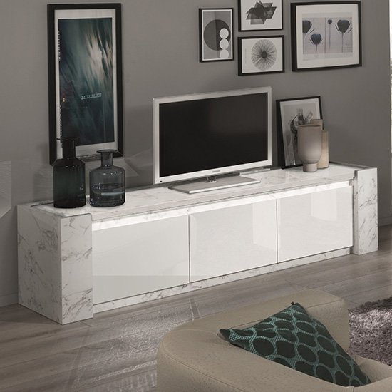 Attoria LED Large Wooden TV Stand In White Marble Effect
