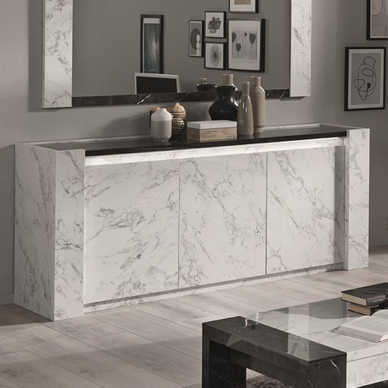 Attoria Wooden Sideboard In Black And White Marble Effect