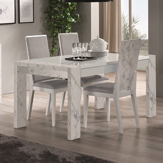 Attoria Gloss White Marble Effect Dining Table With 4 Chairs
