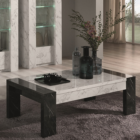 Attoria Wooden Coffee Table In White And Black Marble Effect