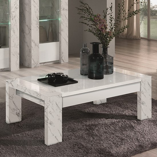 Attoria Wooden Coffee Table In White Marble Effect