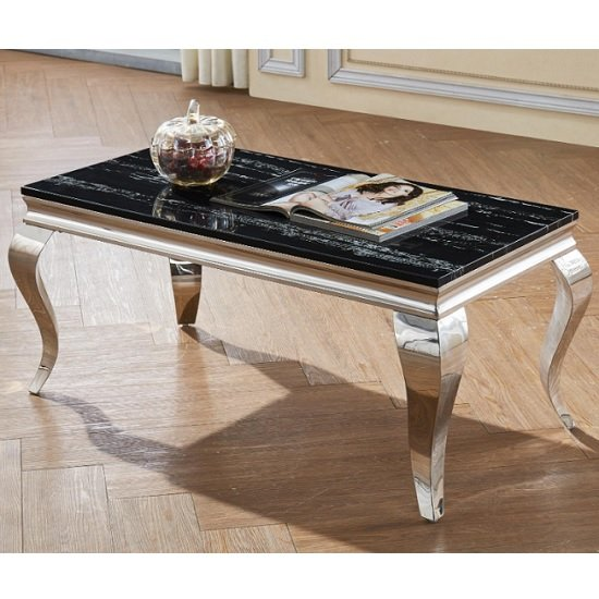Aubert Marble Effect Coffee Table In Black And Stainless Steel