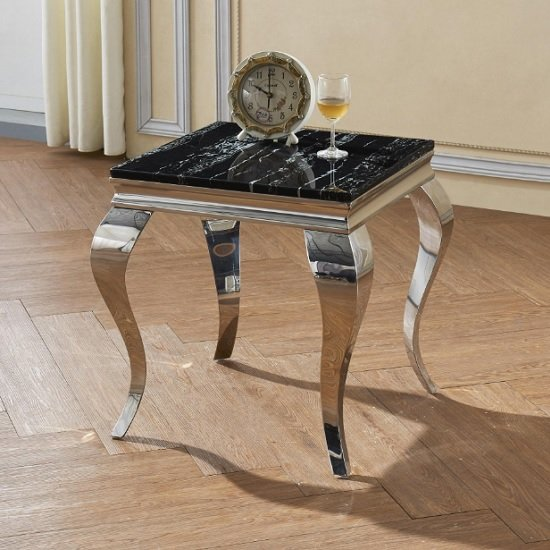 Aubert Marble Effect Lamp Table In Black And Stainless Steel
