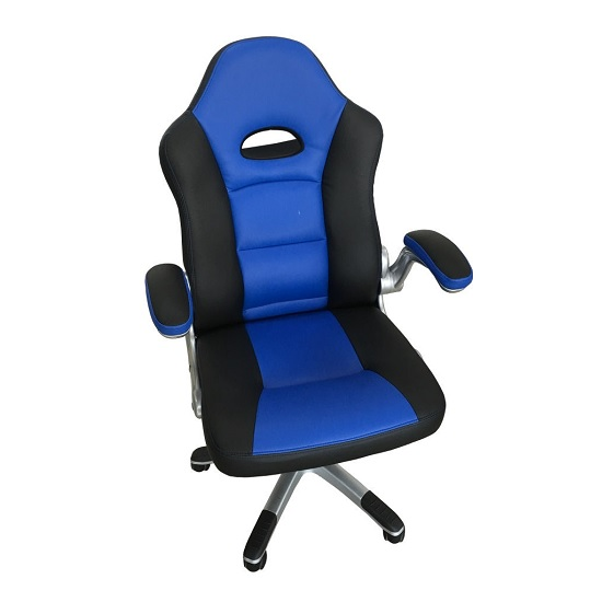 Product photograph showing Aubrianna Home Office Chair In Blue And Black Faux Leather