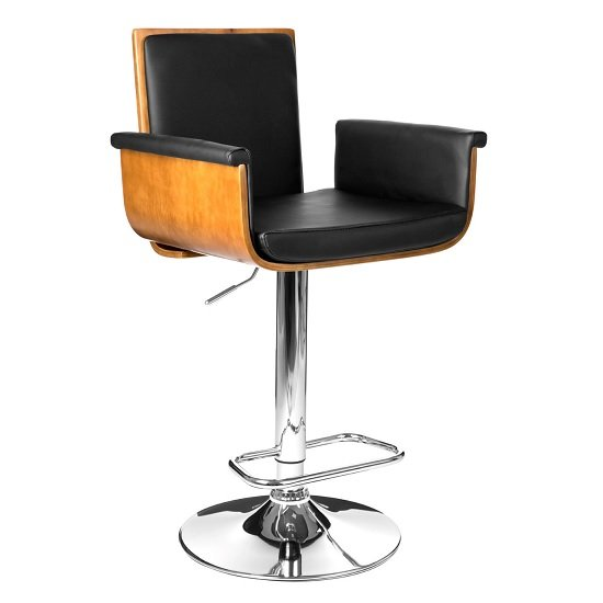 Audrey Bar Stool In Walnut And Black PU Seat With Chrome Base