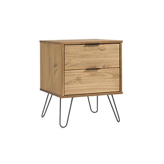 Augusta Bedside Cabinet In Waxed Pine With 2 Drawers