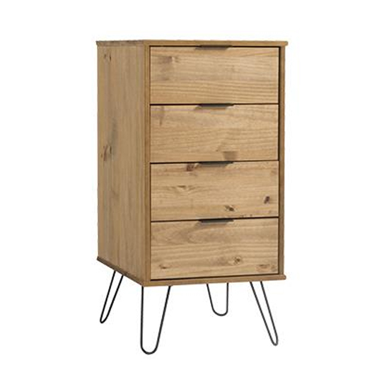 Augusta Narrow Chest Of Drawers In Waxed Pine With 4 Drawers