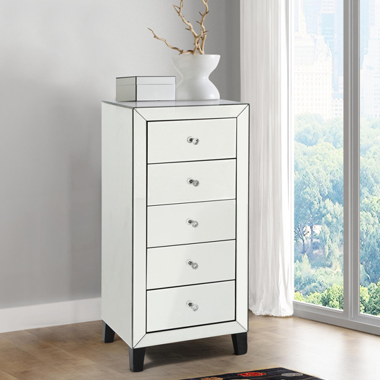 View Augustina narrow mirrored chest of drawers with 5 drawers