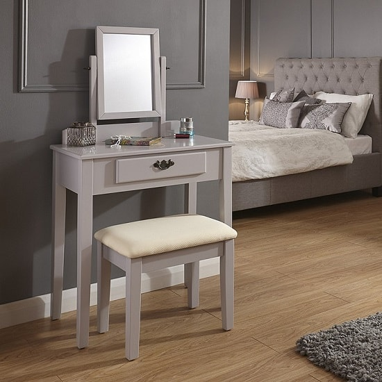 Augusto Contemporary Dressing Table Set In Grey