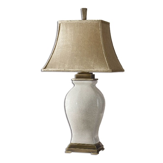 Aureli Table Lamp In Crackled Aged Ivory With Champagne Fabric