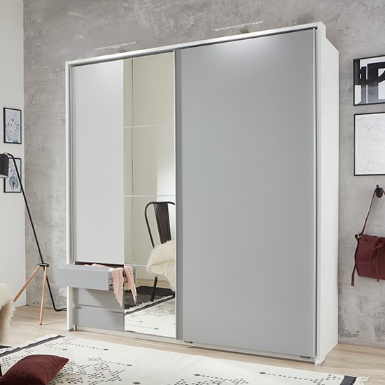 Product photograph showing Aurich Sliding Mirrored Wardrobe In Light Grey And White