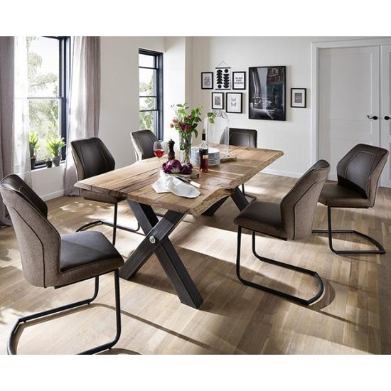 Austell Dining Set In Cracked Oak With 6 Aberdeen Brown Chairs