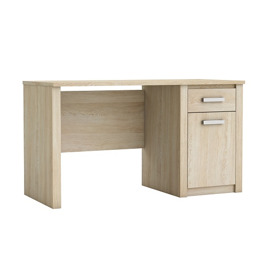 Austen Wooden Computer Desk In Shannon Oak With Cupboard
