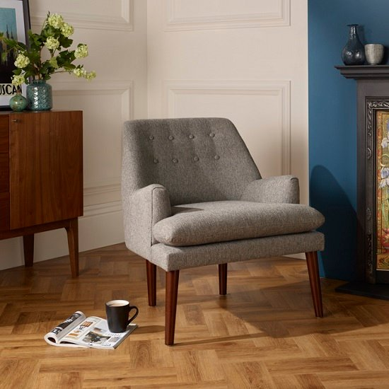 Austen Fabric Lounge Chair In Grey With Wooden Legs_1
