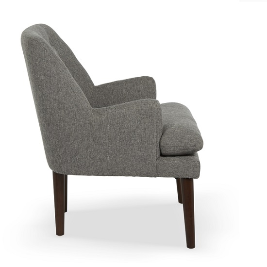 Austen Fabric Lounge Chair In Grey With Wooden Legs_3
