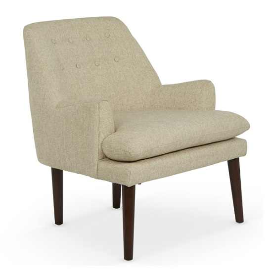 Austen Fabric Lounge Chair In Mink With Wooden Legs