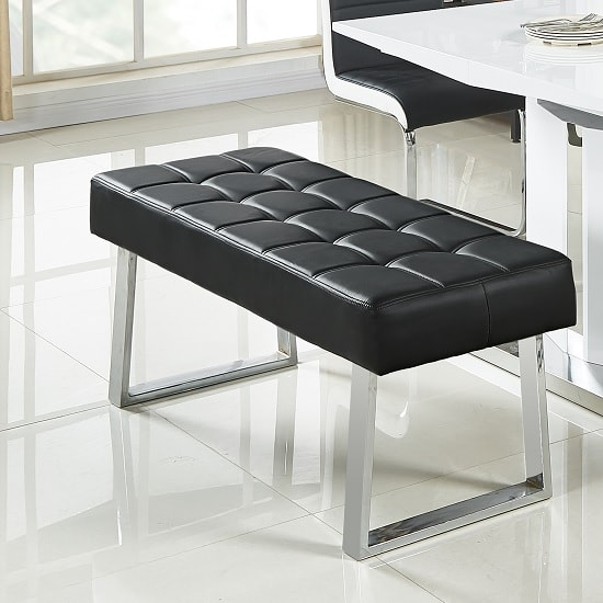 Austin Dining Bench In Black Faux Leather With Chrome Base_1