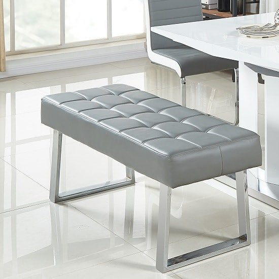 Austin Dining Bench In Grey Faux Leather With Chrome Base_1