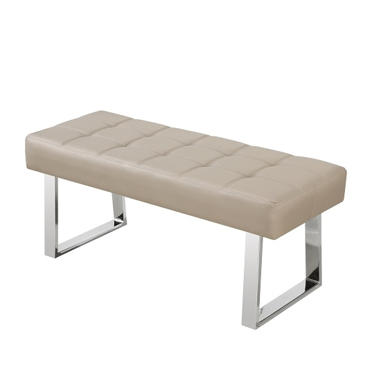 Austin Dining Bench In Taupe Faux Leather With Chrome Base