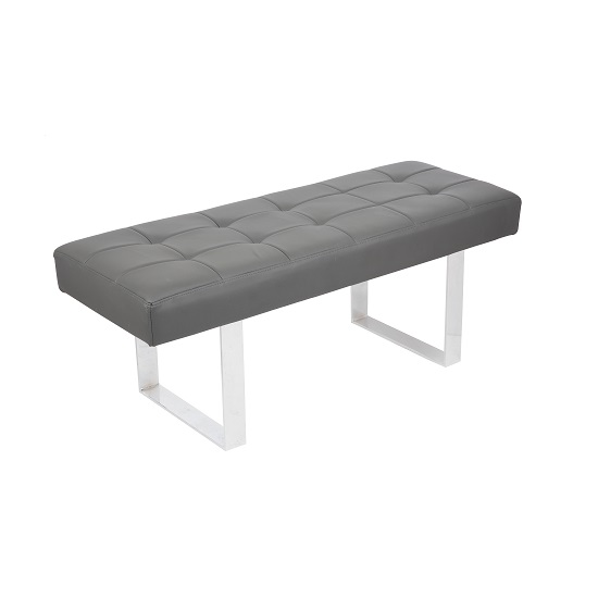 Austin Dining Bench In Grey Faux Leather With Chrome Base