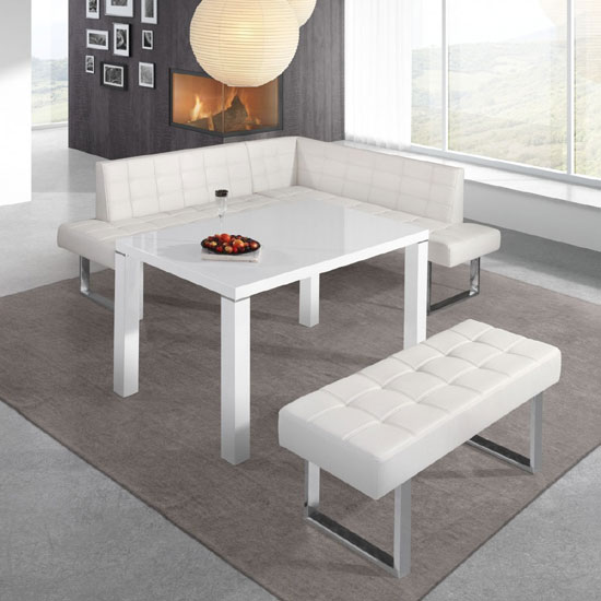 Austin Dining Bench In White Faux Leather With Chrome Base_2