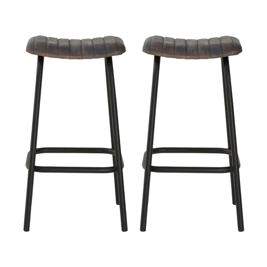 Australis Antique Blue Faux Leather Bar Stools In Pair