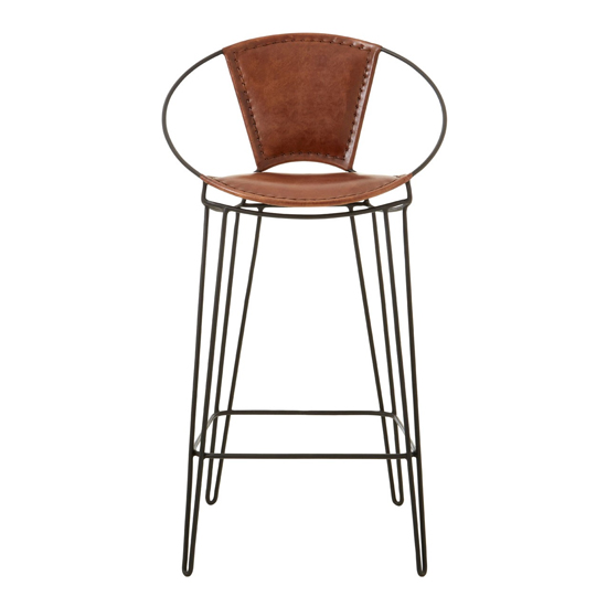 Australis Faux Leather Bar Chair In Brown With Hairpin Legs_2