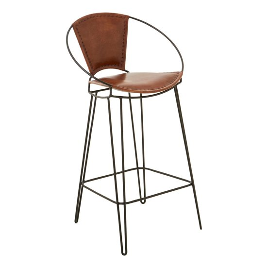 Australis Faux Leather Bar Chair In Brown With Hairpin Legs_3