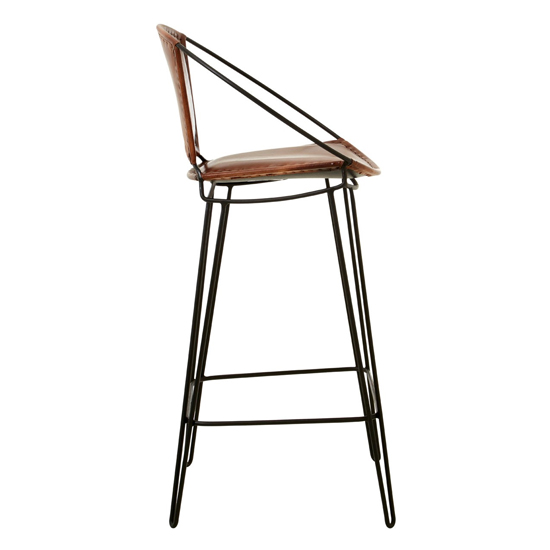 Australis Faux Leather Bar Chair In Brown With Hairpin Legs_4