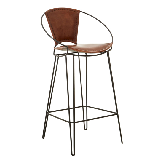 Australis Faux Leather Bar Chair In Brown With Hairpin Legs_1
