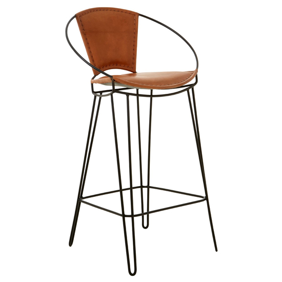 Australis Faux Leather Bar Chair In Light Brown With Hairpin Leg