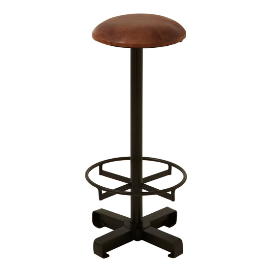 Australis Faux Leather Round Bar Stool In Brown_2