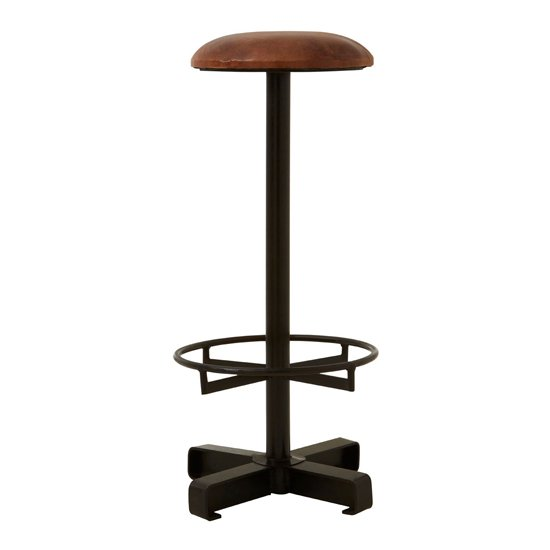 Australis Faux Leather Round Bar Stool In Brown_1