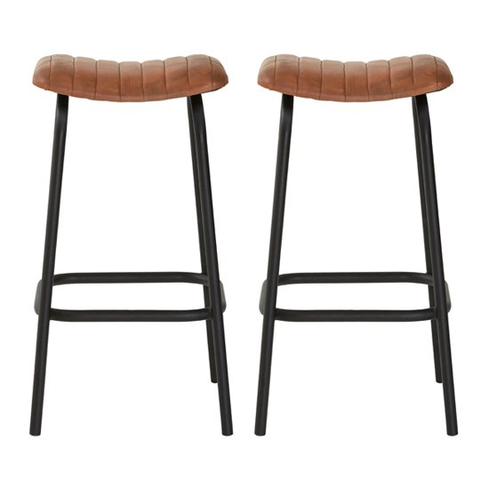 Australis Light Brown Faux Leather Bar Stools In Pair_1