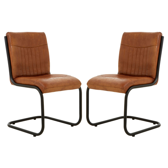 Australis Light Brown Faux Leather Dining Chairs In Pair