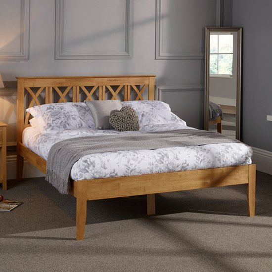 Autumn Hevea Wooden Double Bed In Honey Oak