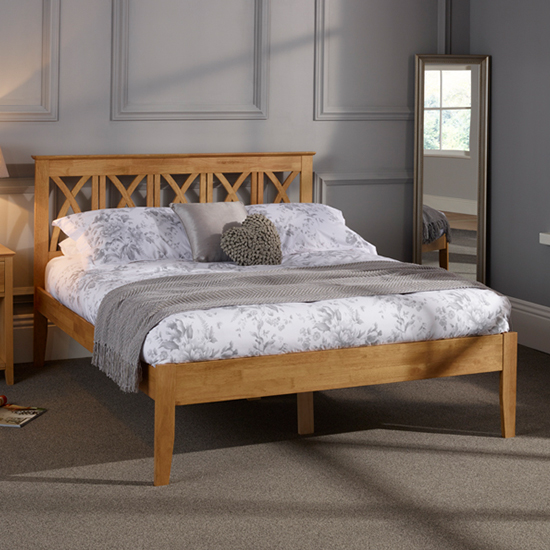 Autumn Hevea Wooden Super King Size Bed In Honey Oak