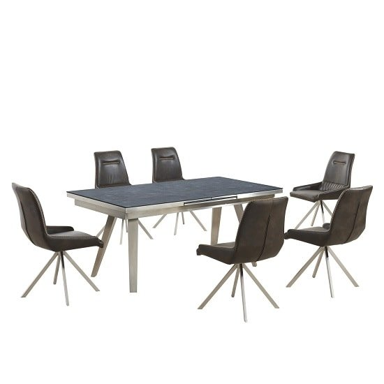 Ava Glass Extending Dining Table In Grey And 6 Dark Brown Chairs