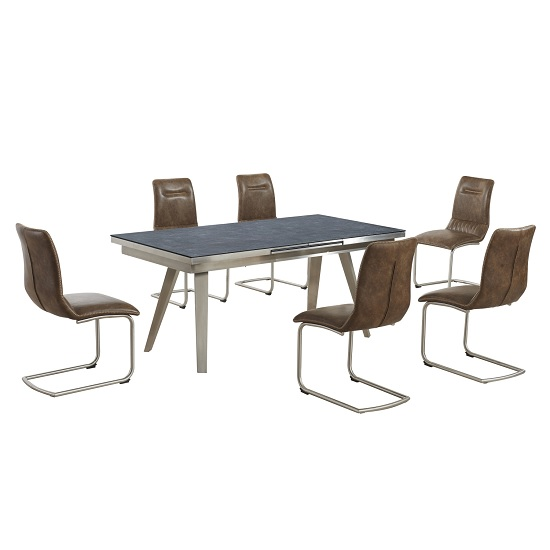 Ava Glass Extending Dining Table In Grey And 6 Warm Earth Chairs