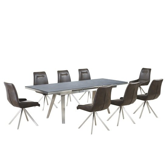 Ava Glass Extending Dining Table In Grey And 8 Dark Brown Chairs