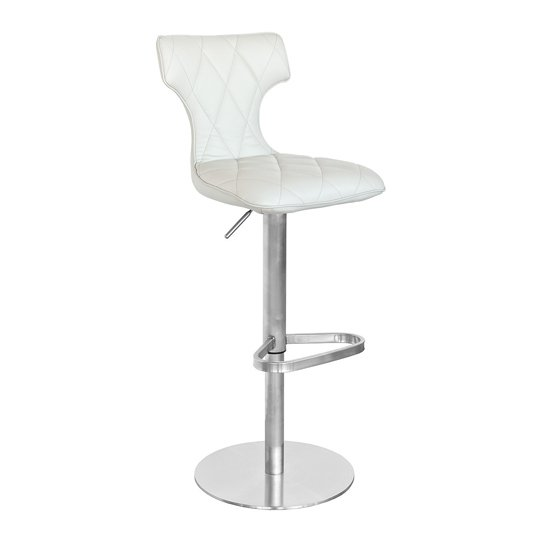 Ava Cream Faux Leather Bar Stool With Stainless Steel Base