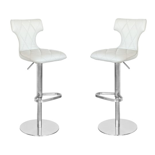 Ava Cream Leather Bar Stool In Pair