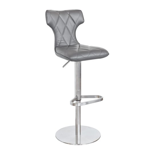 Ava Grey Faux Leather Bar Stool With Stainless Steel Base