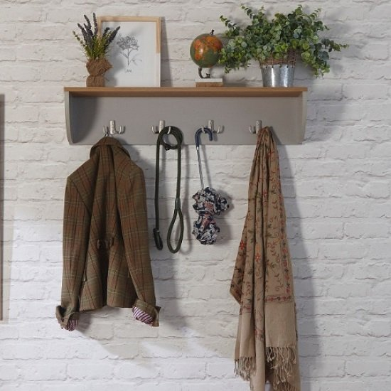 Ava Wall Mounted Coat Rack In Grey With Shelf