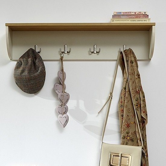 Ava Wall Mounted Coat Rack In Cream With Shelf_1
