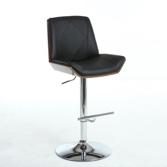 Read more about Avalon bar stool in black pu and walnut with chrome base