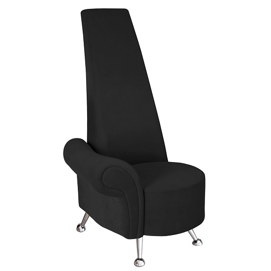 Avalon Right Mini Potenza Chair In Black Fabric And Chrome Legs
