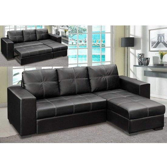 Swell Avalon Corner Sofa Bed In Black Faux Leather With Storage Caraccident5 Cool Chair Designs And Ideas Caraccident5Info