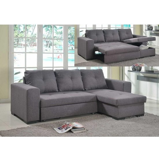 Avalon Modern Corner Sofa Bed In Grey Linen With Storage
